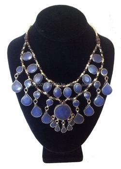 collier argent lapis lazuli