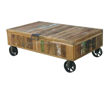 Cart Wooden Wheel Coffee Table