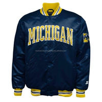 Michigan Wolverines Starter Vintage Snap Satin Jacket College NCAA, Custom Letterman Varsity jackets