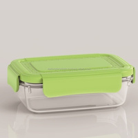 Plastic food storage container/Comfortable grips are easy to open and close-Plastic food container-L1192(green)