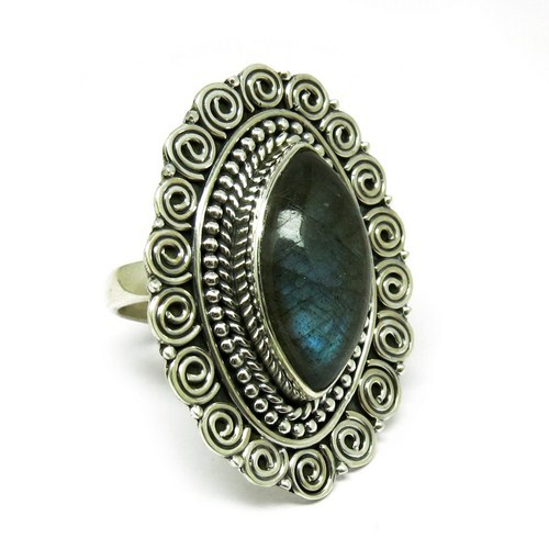 Captured Blue Fire Labradorite 925 Sterling Silver Fine Oxidized Cocktail Ring, Silver Jewelry Manufacturer, Online Silver Jewel