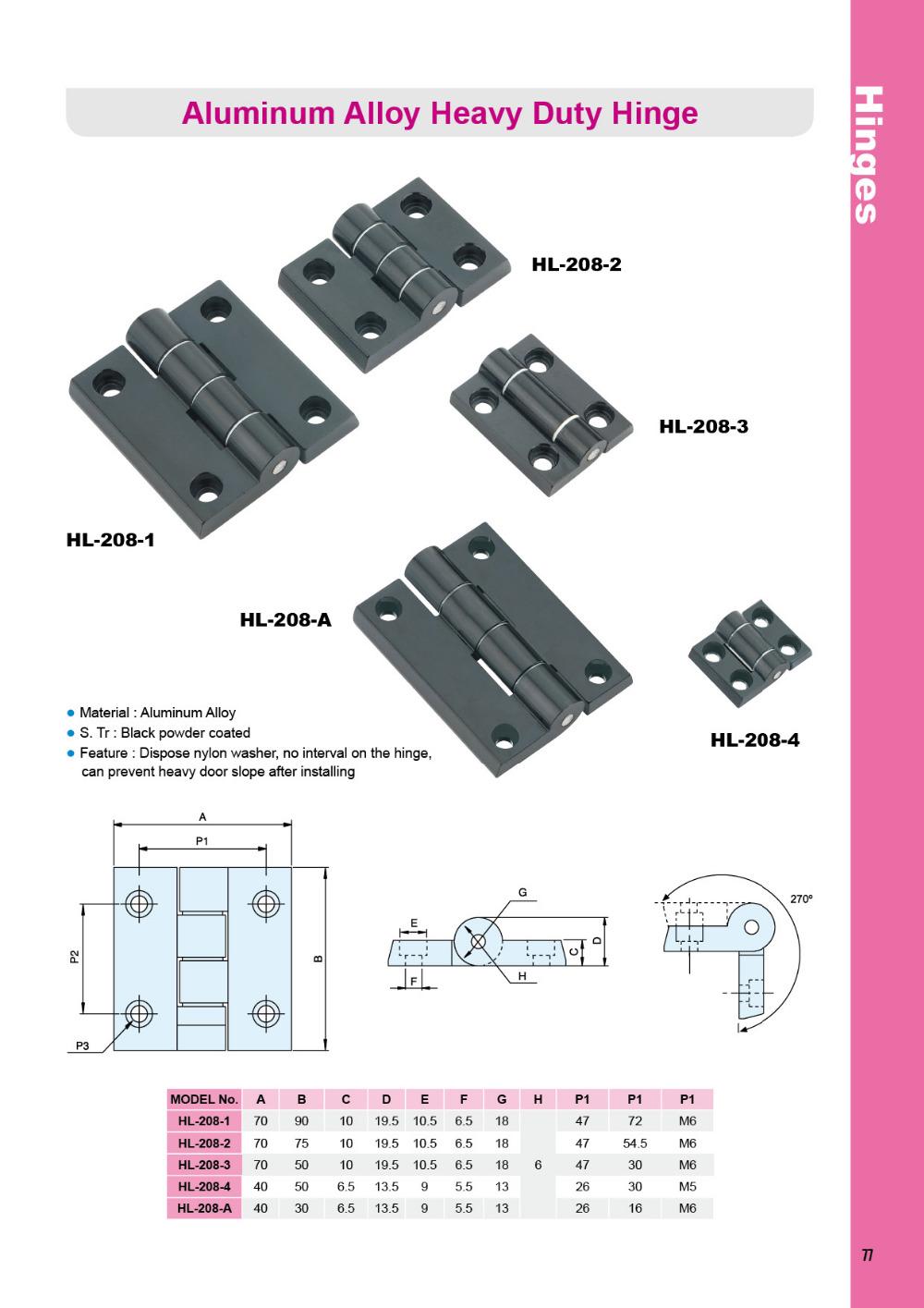 Hl-208-1 Heavy Duty Cabinet Door Aluminum Hinges
