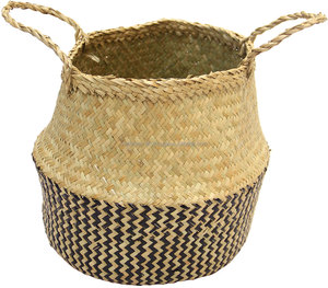 Seagrass basket, black and white zigzag