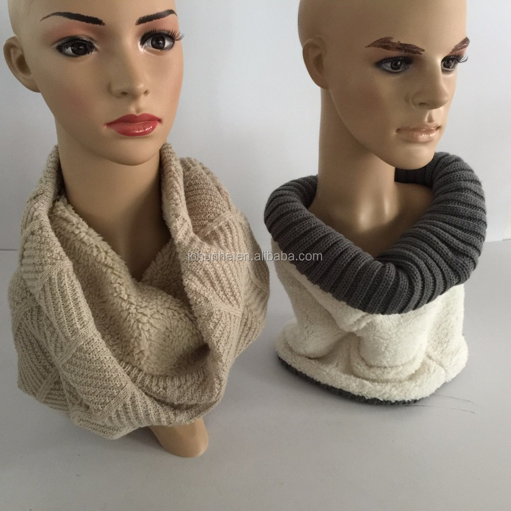 flat machine girls fashion plain color double layer fleece and knitted neck warmer scarf maker