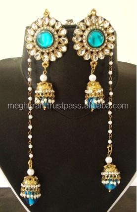 Kashmiri Jhumka Earrings Indian Kundan Long Earring Pearls Jhumki For Women Jewellery