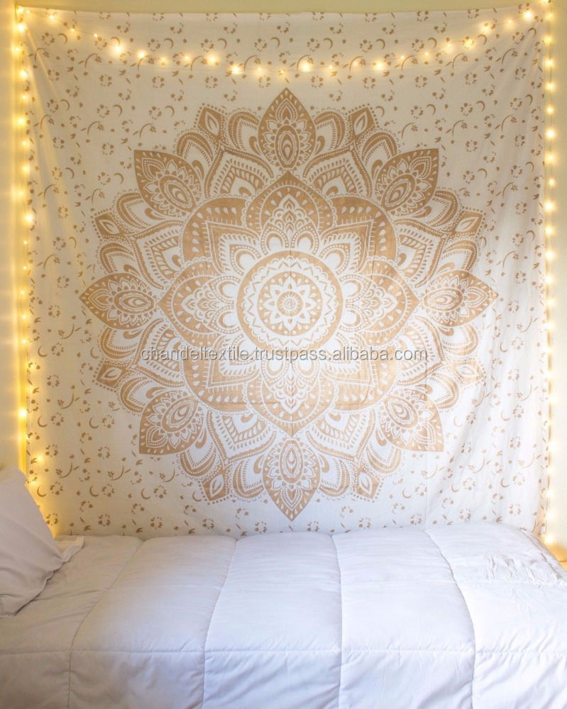 Gold Ombre Mandala Tapestry Indian Wall Hanging Bohemian Hippie Bedspread Throw Decor Queen, Twin Mandala Bed sheet tapestries