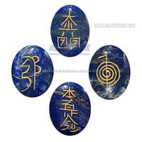 Lapis Lazuli Oval Reiki Set : Symbol Reiki Oval Set : Agate Stone Export - India