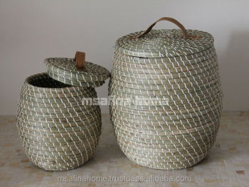 PE Lines Seagrass Storage Basket With Lid