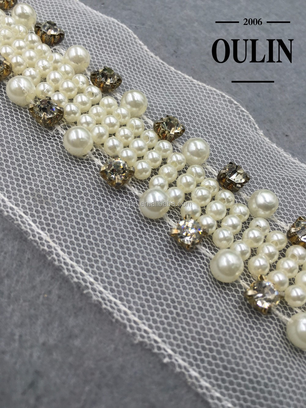 Bridal rhinestone lace applique rhinestone, rhinestone type pearl chain lace for clothing