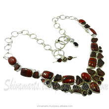 925 sterling silver red tiger eye & garnet rough gemstone jewelry, 925 Silver Jewelry