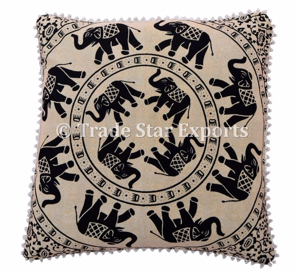 Elephant Print Indian Ethnic Mandala Cushion Cover Art Deco Travel Pillow Cover