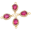 Gold Plated Pink Quartz Pave Cz Set Gemstone Connector - Pear Cut Gemstone Connector