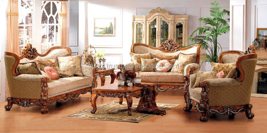 Solid Wood Carving Lounge Sofa Wooden