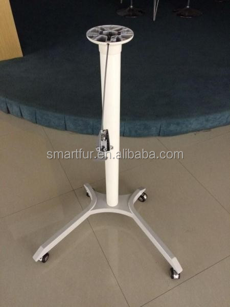 White Aluminum Height Adjustable Gas Lift Table Base With Wheels ...