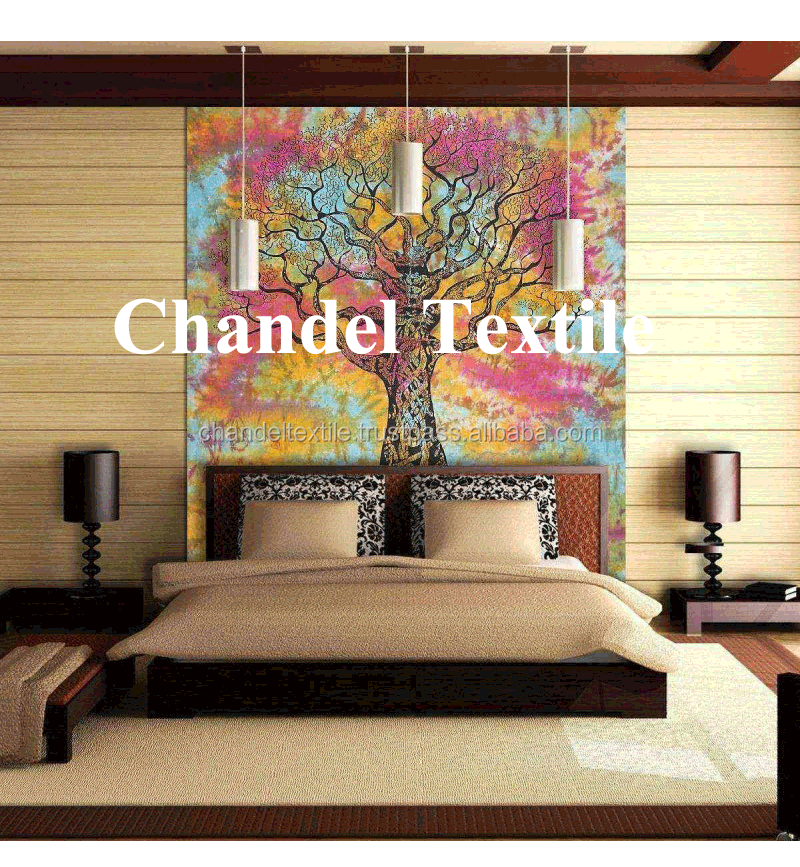 Indian Tree of Life Tie Die Bedspread Psychedelic Hippie Poster Wall Hanging Multicolored Bohemian Cotton Ethnic Decor Wall Hang