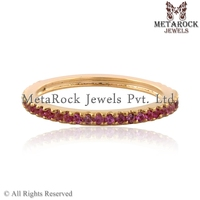 Pink Sapphire Gemstone Pave Eternity Band Ring 14k Yellow Gold Jewelry Gift for Her