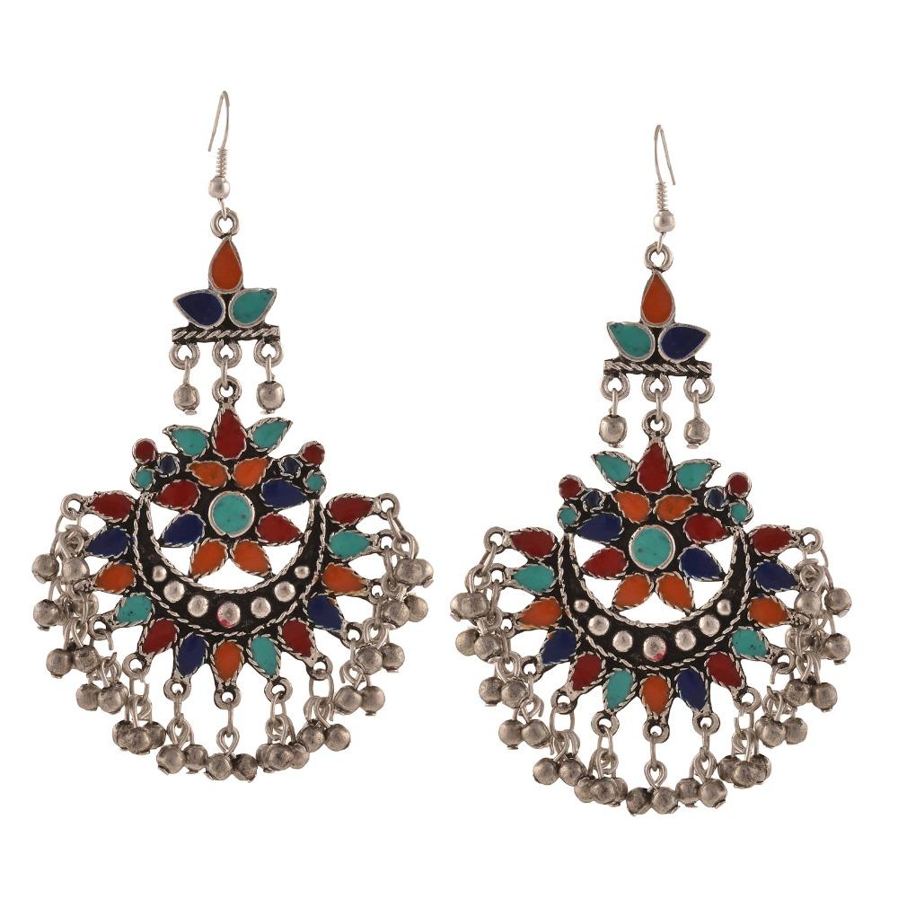 25aa5f1fa Zephyrr Fashion Multicolor Oxidized Silver Afghani Tribal Dangler Hook Chandbali  Dangle & Drop Earrings