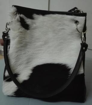 Black White Leather Carry Bags Cow Hide Las Purse Cowhide Skin Shoulder Bag Free