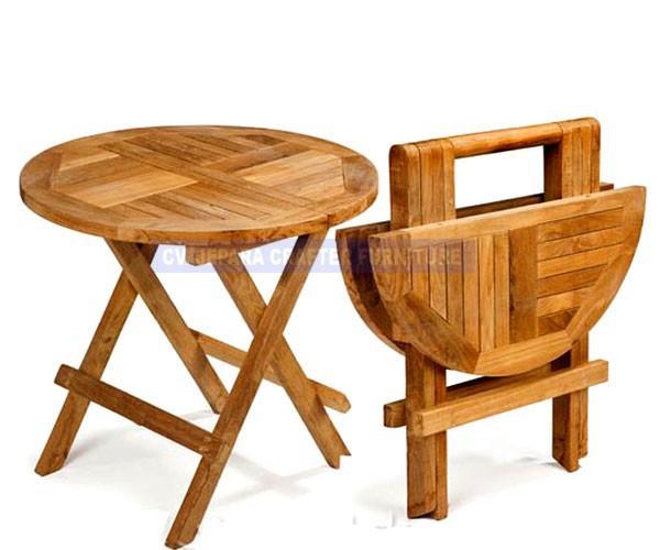Zig zag de picnic mesa plegable redonda de madera maciza for Mesas de exterior plegables