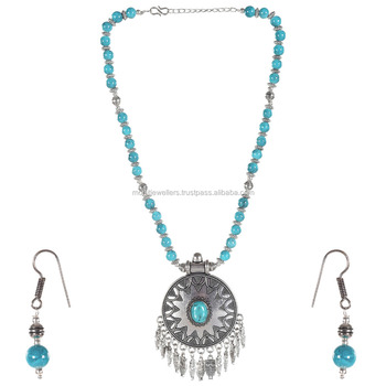multi color parls chain with hoop oxidised necklace set buy