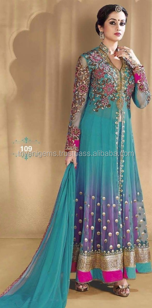 Bollywood Celebrity Style Aqua blue Embroidered & Fancy work Anarkali Semi-Stitched Net Anarkali Suit
