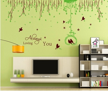 SYGA GREEN GRASS RING FLOWER & VINES WALL STICKERS