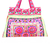 Pink Flowers Tote Bag HMONG Cloth Strap Handbag Fair Trade Handmade Thailand