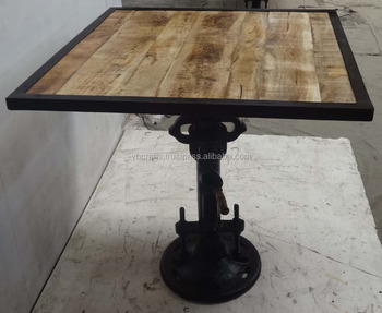 Tavolo Industriale Quadrato : Presa industriale bar manovella tavolo quadrato top mango legno