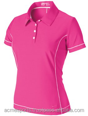 Womens Pink Dry Fit Mesh Fitness Polo T Shirt