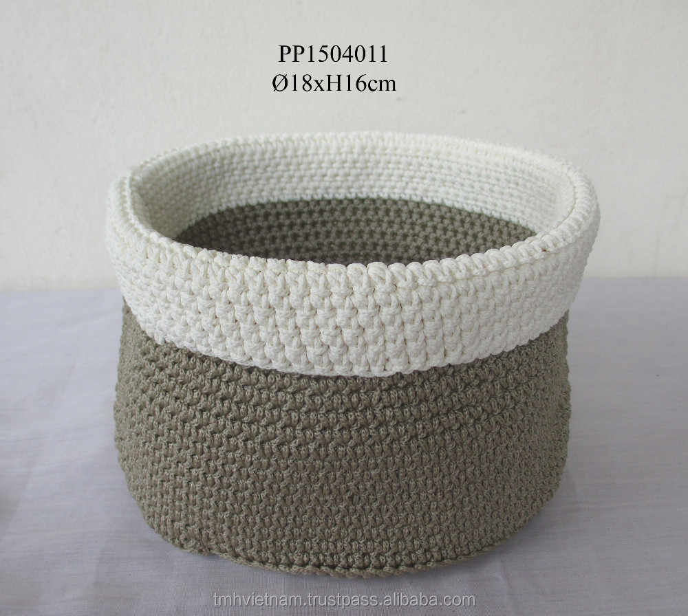PolyPropylene crochet basket Japanese style white and taupe color