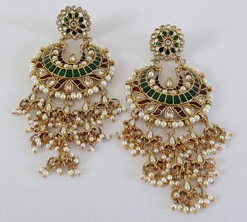 793de3d1a 2015 Oversize Pakistani Bridal Earring-Wholesale Punjabi Chandelier Earrings -Kundan Earrings-indian Pakistani