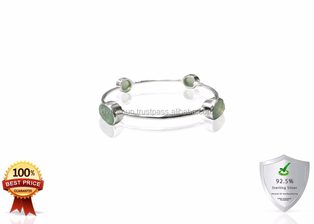 Sterling Silver Gold Plated Aqua Chalcedony Gemstone Bangle
