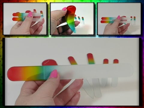 Glass Nail Files, 6 Piece Pack Pearl Red Yellow Green Crystal Glass Fiie Combination