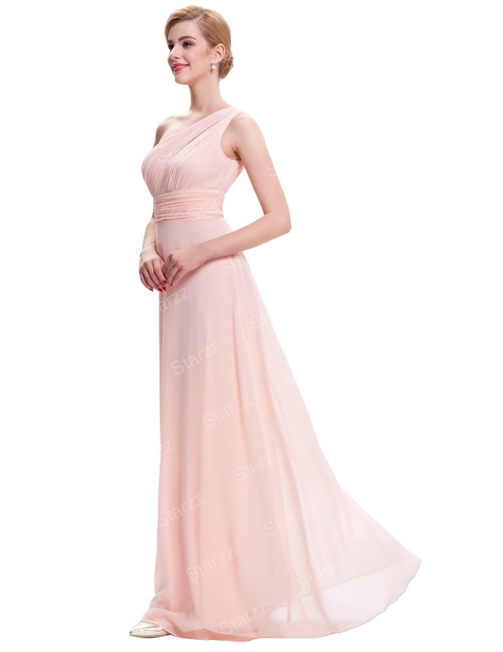 Starzz 2016 Ladies New One Shoulder Chiffon Long Pink Bridesmaid Dress ST000071-1