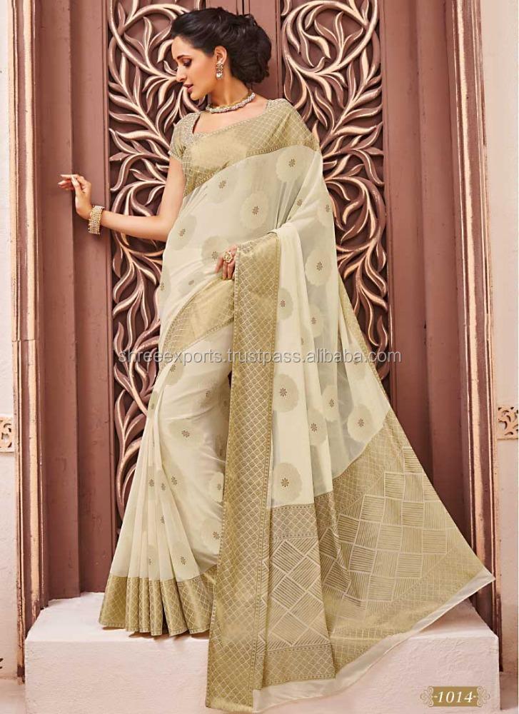 Wealthy Off White Chiffon Saree Indian Wedding Reception Wear Sarees