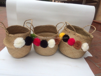 Best Selling Eco-friendly Gold Seagrass Belly Basket With Pompoms ...