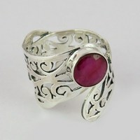 Store Of Love !! Red Dyed Ruby 925 Sterling Silver Ring Round Shape, Discounted Silver Jewelry, Handmade Silver Jewelry