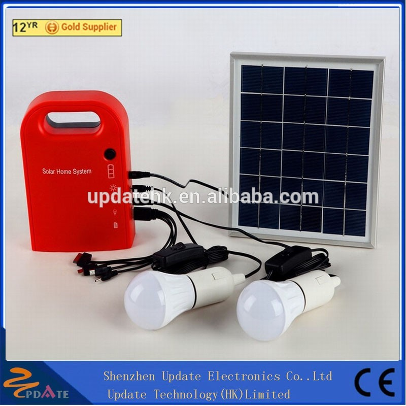 Portable 3W Solar Energy Charging Kit Outdoor Light System with 2 LED bulb and USB Phone Charging