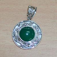 2.6 Gm Green Jade Gemstone 925 Sterling Silver Pendant,Style Silver Pendant 925 sterling Silver Jewelry
