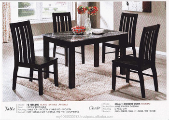 Black Nature Marble Top Wooden Leg Dining Table