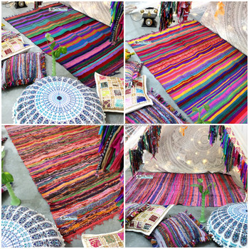 Wholesale Bohemian Indian Rag Rug Affordable Throw Recycled Home