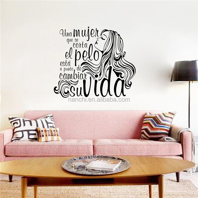 PVC Long haired girl wall stickers for bedroom living room decals waterproof sofa background wallpaper home decor wall pictures