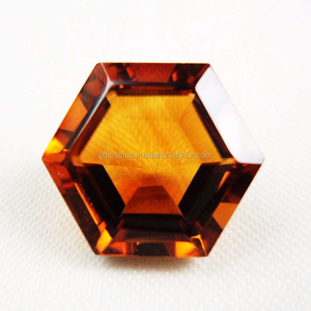 Madeira Citrine Faceted Hexagon Semi Precious Color Gemstone