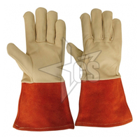 long leather welding gloves / cow split long working glove /construction leather safety