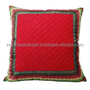 Indian Pillow Red Dupion Silk Cushion Cover Pillow Weaving Border Square 24 X 24 PL21825A