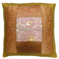 Home Decor Pillowcase Mustard Patchwork 38cm Cushion Cover Handmade Throw Art PL15241