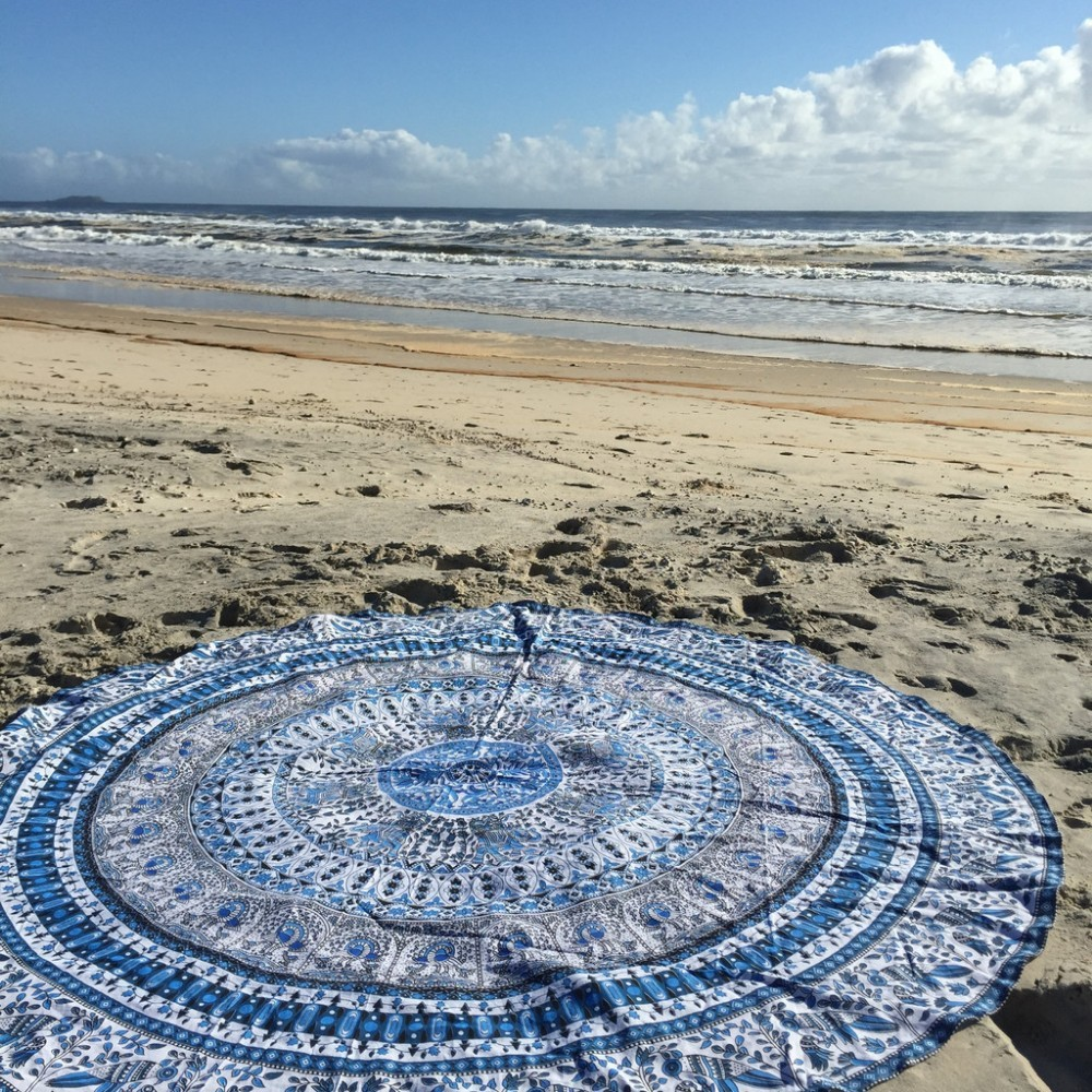 Round Mandala Beach rug and carpet Blue Tapestry Indian Hippie Tablecloth Bohemian Round Yoga Mat