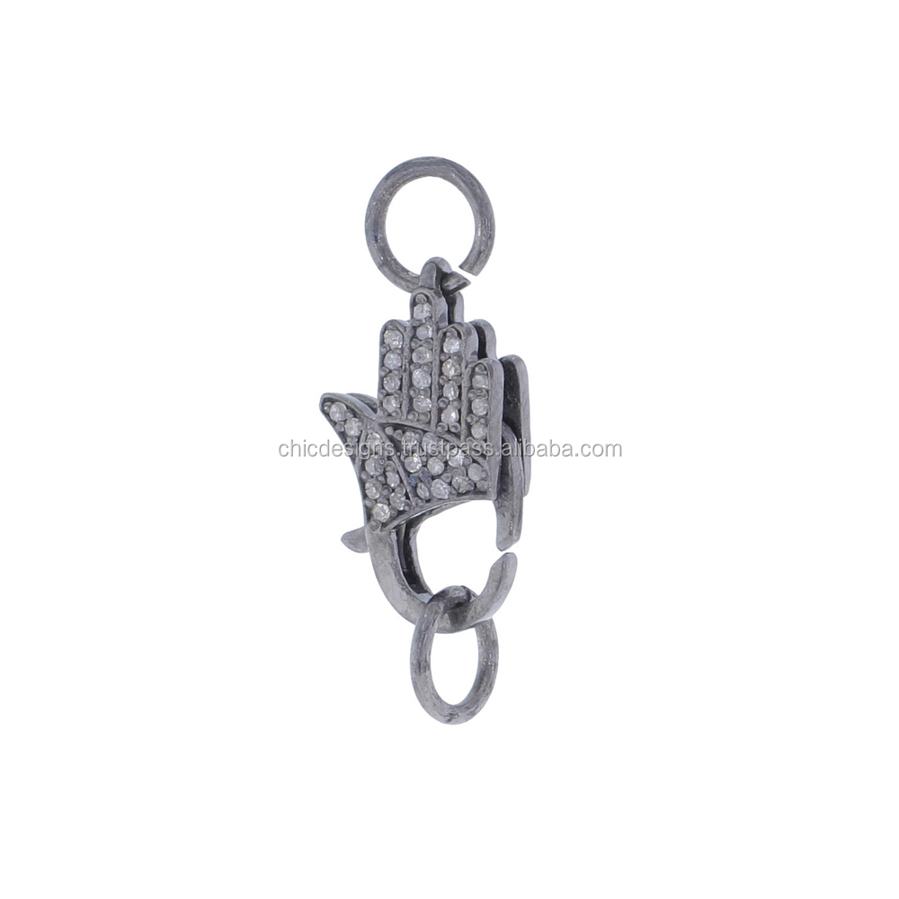 925 Sterling Silver Pave Diamond Lobstar Hamsa Spring Clasp Lock Findings