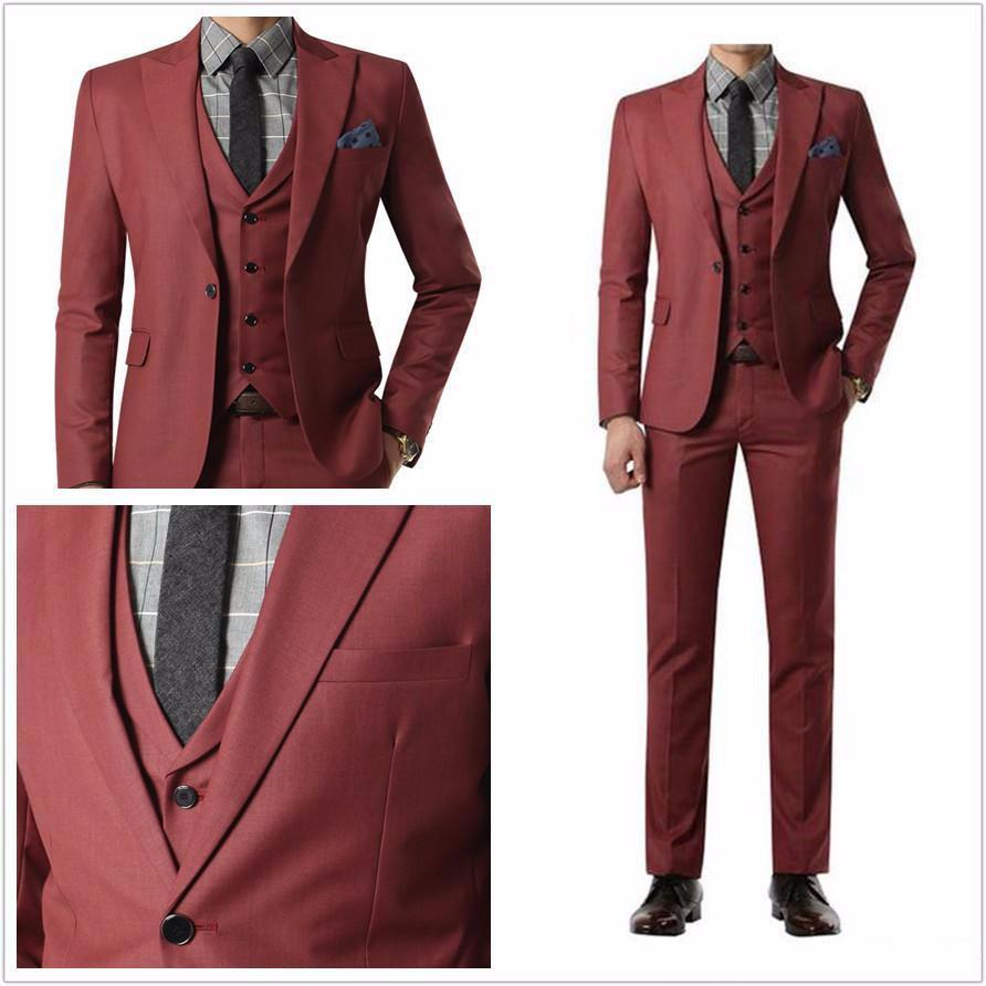 Mens Suits Designer Wedding 3 Piece Cheap Skinny Business Black ...