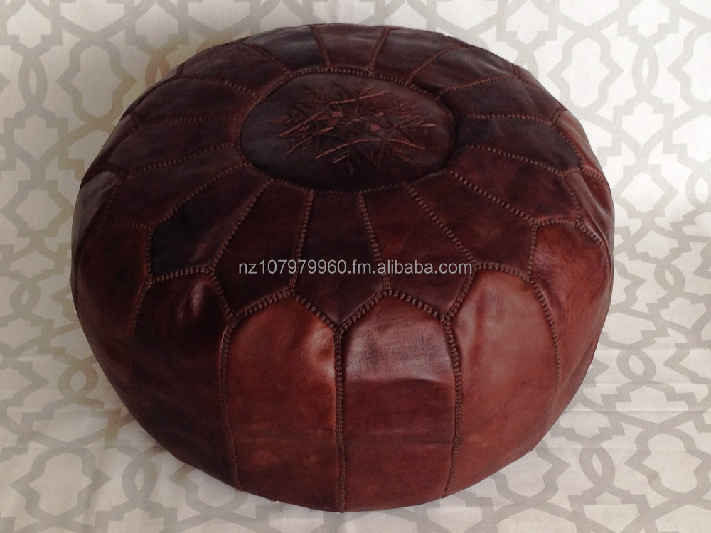 Marrakech Handcrafted Embroidered Leather Pouf Pouffe Ottoman New Embroidered Leather Pouf